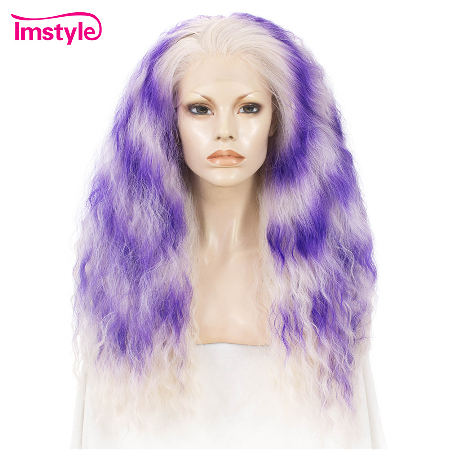 Imstyle Purple Blonde Ombre Wig Curly Long Synthetic Lace Front Wig For Women Two Tone Heat Resistant Fiber 26 Inch Cosplay Wig