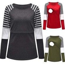 Koszulka do karmienia# y2 Женская одежда для беременных и кормящих мам с круглым вырезом и длинным рукавом