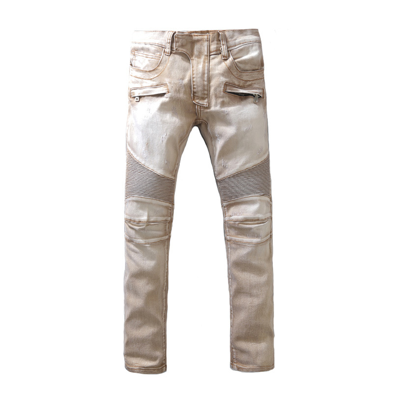 Men's Slim Motorcycle Biker Jeans Pleated Stretch Slim Streetwear Hip Hop Denim Pants Khaki Fashion  Trousers Male R3372