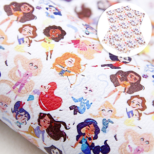20*34cm Cartoon Design Princess Faux Leather Fabric in Crafts Synthetic Leather Hair Bow Fabric DIY Handmade Materials,1Yc9185(China)