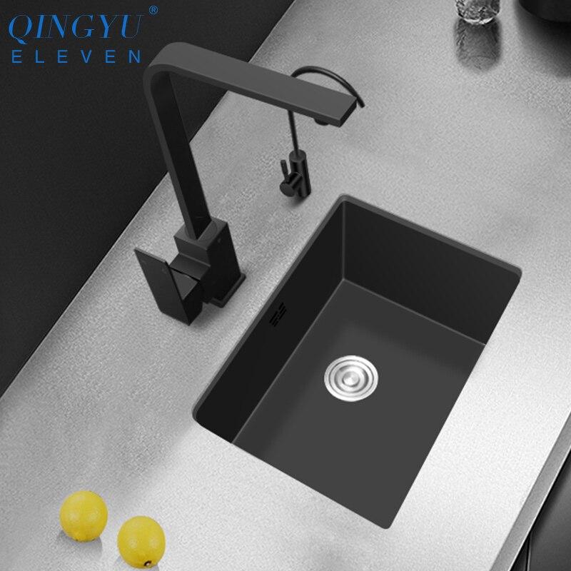 Petite taille cuisine évier 304 acier inoxydable 3mm épaisseur nanomètre antibactérien noir Mini manuel évier barre comptoir évier
