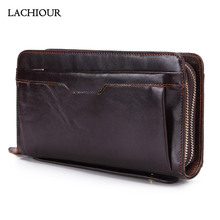 Clutch Bag Wallet Male Double-Zipper Genuine-Leather Card-Holder Phone-Bag Purse Coin