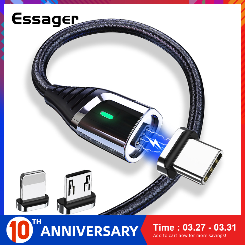 Essager Magnetic Charger Micro USB Cable for iPhone Samsung Fast Charging Wire Cord USB Type C Type C Magnet Mobile Phone Cables|Mobile Phone Cables| |  - AliExpress