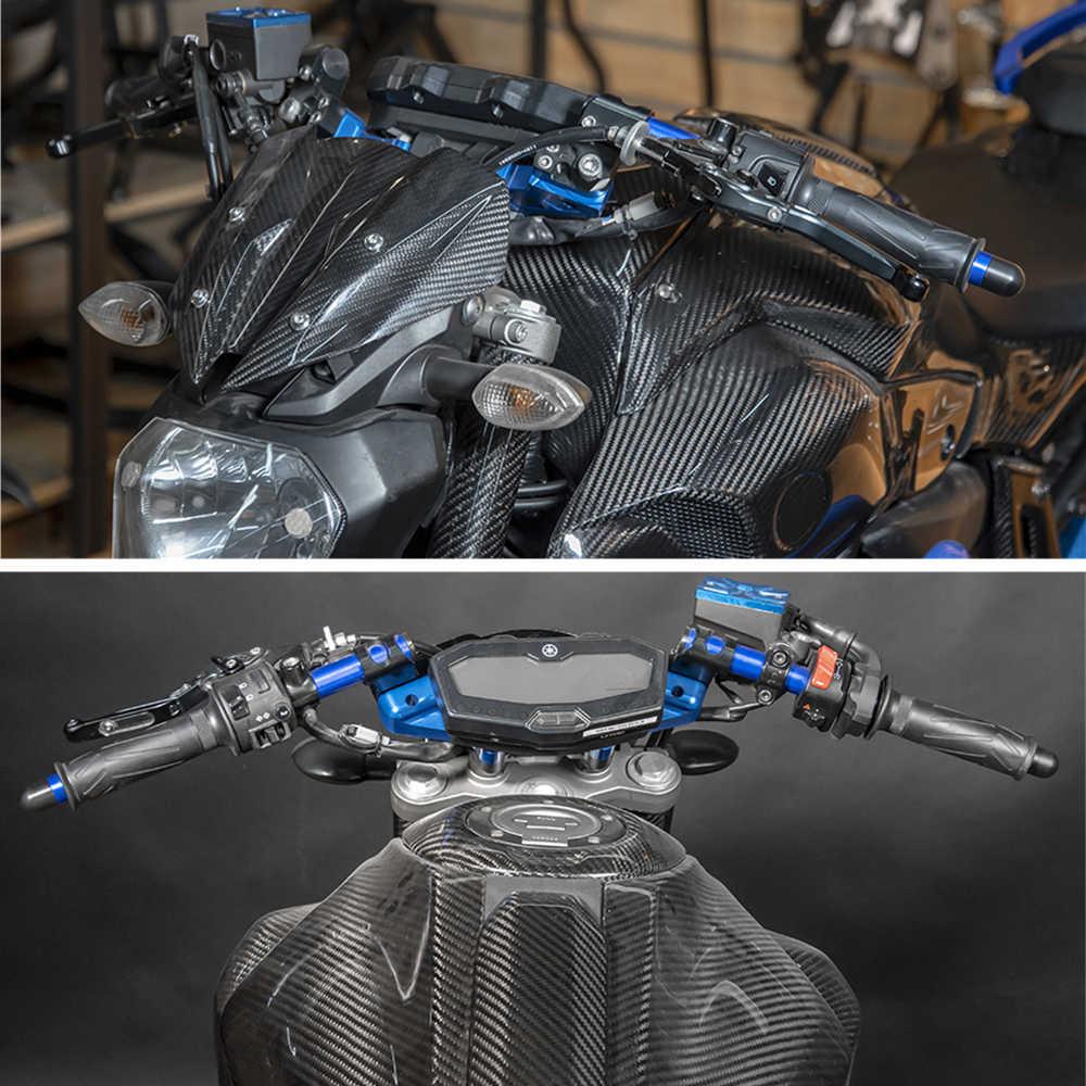 Azul Lorababer Motocicleta MT 07 FZ 07 Empu/ñaduras Barras de la manija Tubo de la Horquilla Adaptador con Clip Conjunto de Placa y Manillar Separados para Yamaha MT-07 FZ-07 M07 FZ07 2014-2017