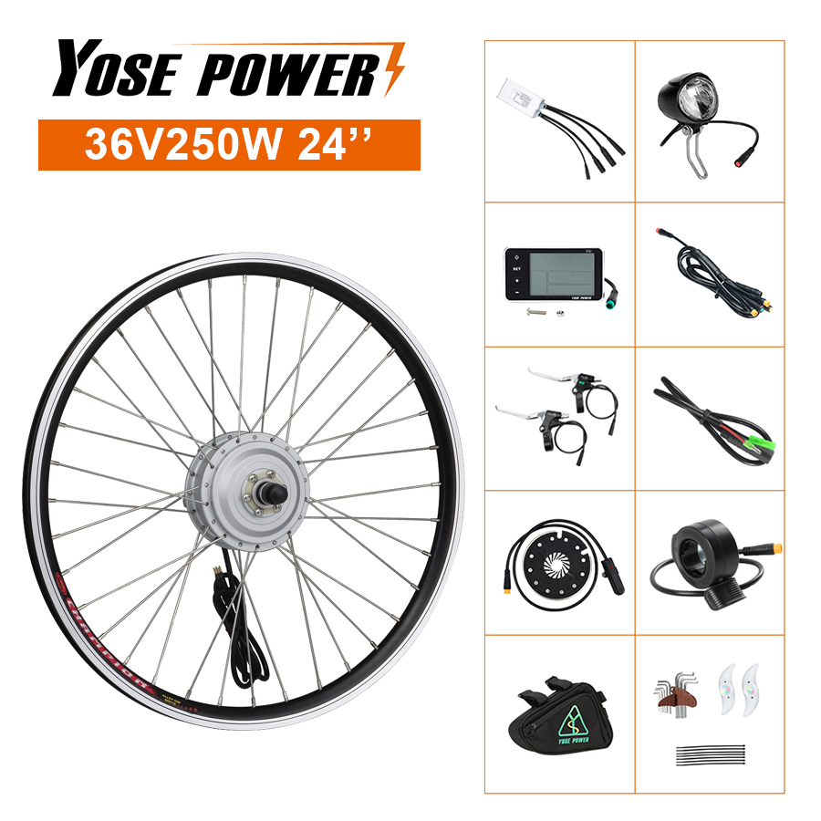 Electric Bicycle Front Brushless <font><b>Motor</b></font> Wheel 36V 250W 24'' Ebike Conversion Kit for Electric <font><b>Bike</b></font> DIY with Front Light image