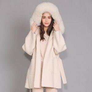 Image 3 - Kaşmir ceket kadınlar ayrılabilir tilki kürk yaka yün karışımı ceket ve ceket kemer bayanlar sonbahar kış kaşmir palto