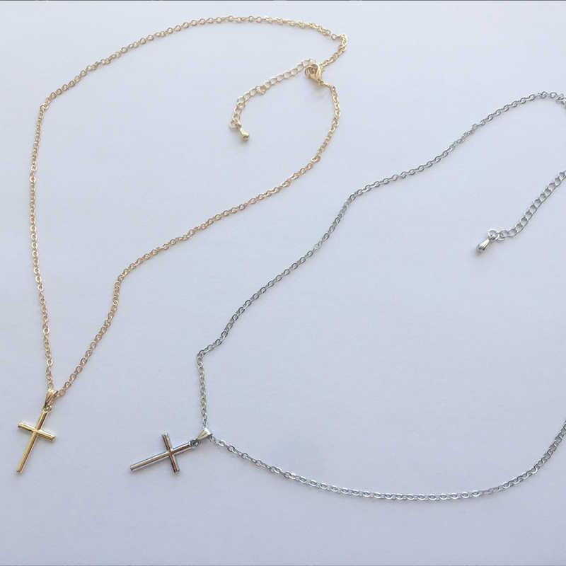 Simple de moda Cruz collar de cadena para las mujeres de los hombres de lujo de Oro de las señoras joyas, collares, pendientes crucifijo ornamento cristiano regalos