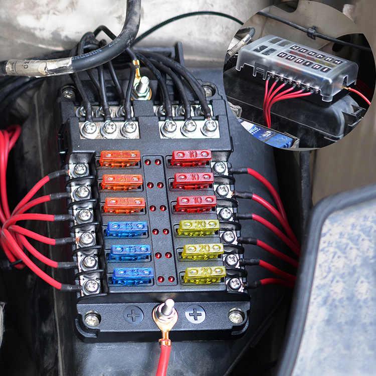 12V 32V Plastik Kotak Sekering Penahan M5 Stud dengan Lampu Indikator LED 6 Cara 12 Cara Pisau untuk Auto Mobil Perahu Marine Trike