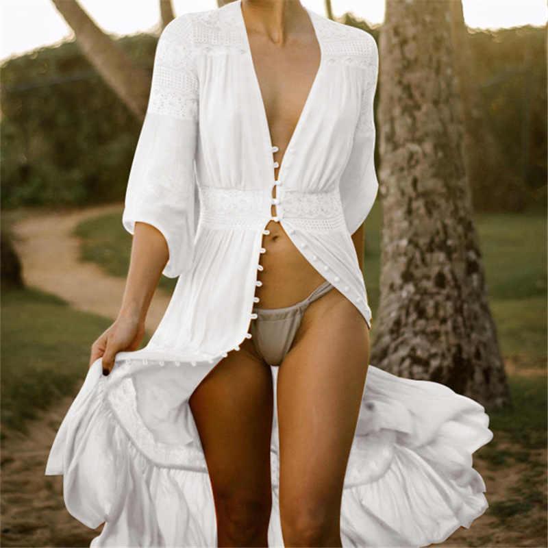 Cotton Bãi Biển Che Dài Khăn Sarong Đi Bộ Đồ Tắm Ren, Trải Bãi Biển Pareo Đồ Bơi Che Nữ Bơi Mặc Đi Biển áo Thun Số Q561