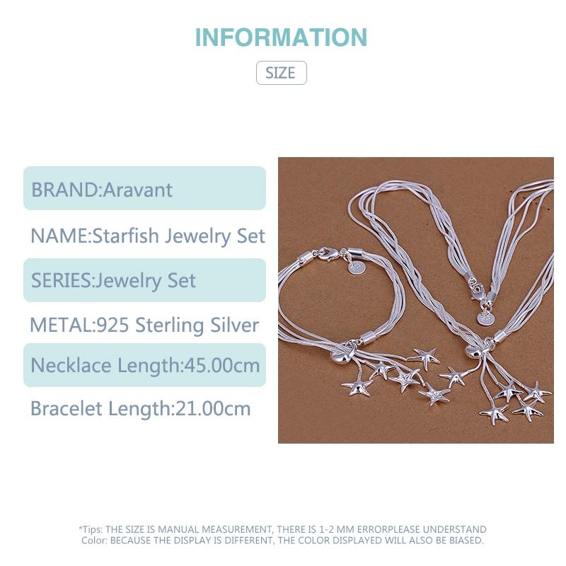 925 ensembles de bijoux en argent étoile de mer collier Bracelet ensemble de bijoux de mariage pour les femmes 6