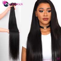 Silkswan-extensiones de cabello humano liso 32, 34, 36, 38 pulgadas, 3, 4 piezas, Remy, extensiones de pelo ondulado brasileño