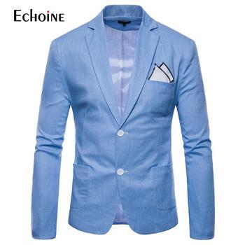 Moda bawełniana pościel letni mężczyzna komfort blazer mężczyzna 2019 nowy szczupły dopasowana kurtka garnitury Blazers mężczyźni jakości garnitur casual plus rozmiar 4XL tanie i dobre opinie Echoine REGULAR Akrylowe COTTON Pojedyncze piersi Pełna UCSBC-FB-9612 Smart Casual Fashion Men Blazers Male blazer suits