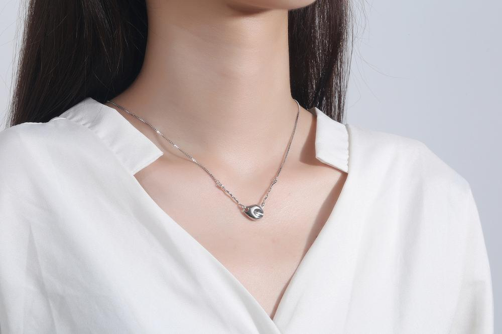 Authentic 925 Sterling Silver Meteorite Solid Geometric Choker Necklace Pendant Jewelry TLX694