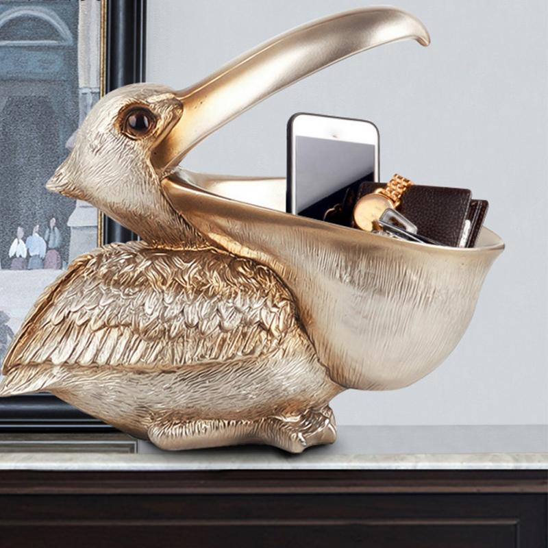 >Pelican statue Toucan <font><b>Ornament</b></font> living room door key storage cabinet shoe entrance <font><b>decoration</b></font> <font><b>home</b></font> Table Cabinet decor accessorie