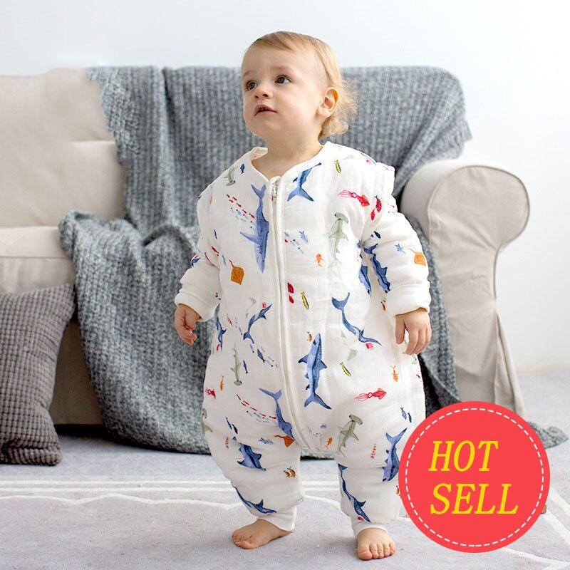 Baby Sleeping Bag 6 Layers Long Sleeve Muslin Children Sleeping Bag Clothes Kids Anti Kick Quilt Sleepsacks Kids Romper AXA016