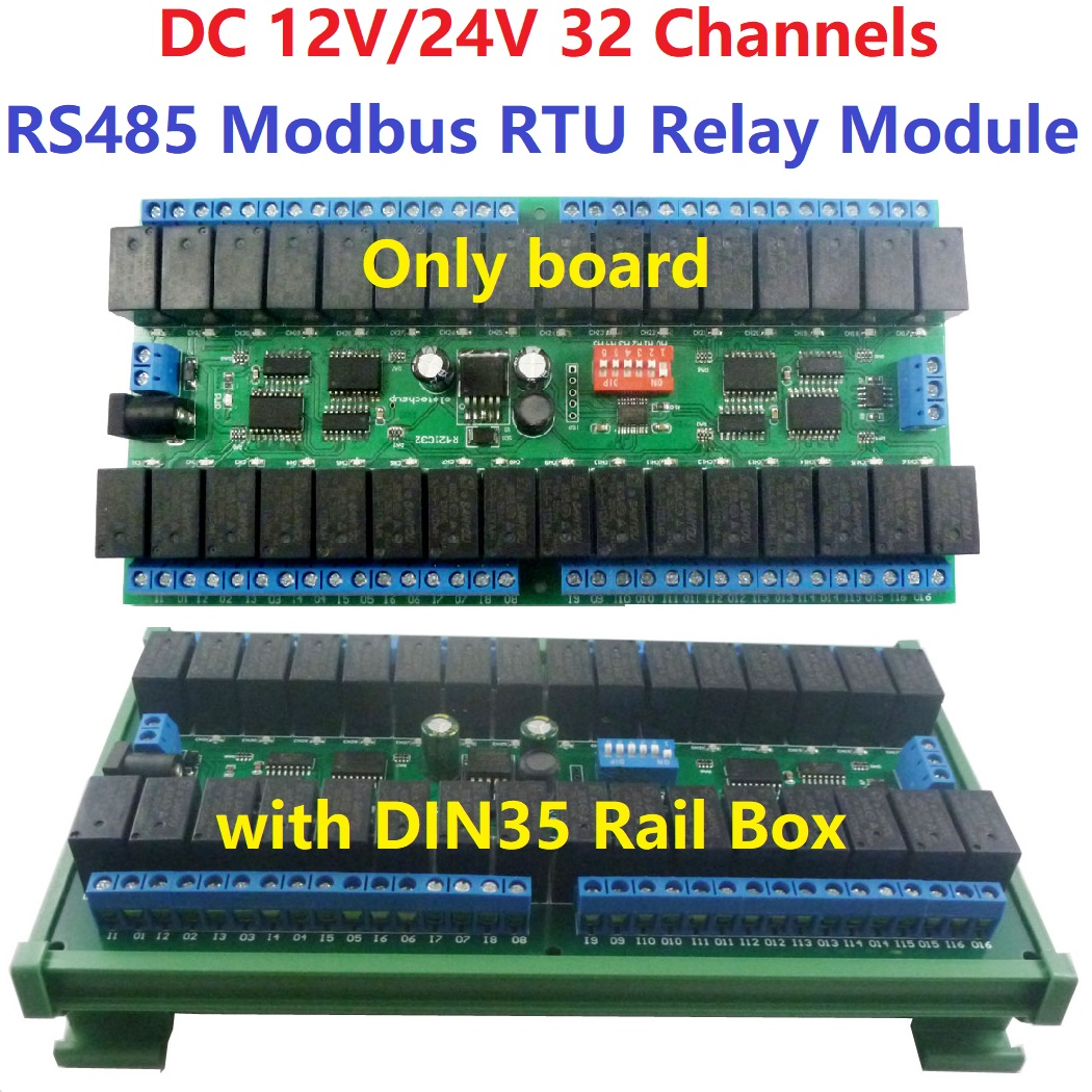 Dc 12v 24v 32ch modbus rtu rs485 placa de interruptor relé uart porta serial módulo din trilho caixa plc placa de expansão