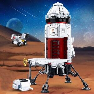 Image 3 - 宇宙ステーションロケット月面着陸宇宙船スペースシャトル船フィギュアモデルビルディングブロックレンガのおもちゃ子供のギフトのため