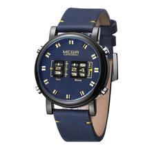 MEGIR Top Luxury Relogio Masculino Watch MEN  roller watch mens fashion sports business leather quartz 2019