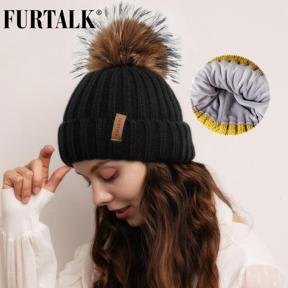 FURTALK Winter Hat For Women Pompom Beanie Hat Real Roccoon Fur Pom Pom Hat Warm Knitted Winter Cap With Velvet Lining