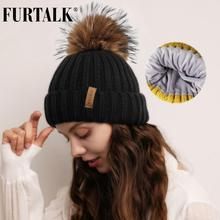 FURTALK Winter Hat for Women Pompom Beanie Real Roccoon Fur Pom Warm Knitted Cap with Velvet Lining