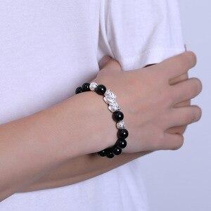 Image 5 - שחור אובסידיאן אבן צמידי יד אביזרי עבור גברים עם אמיתי סטרלינג כסף Pixiu פנג שואי קריסטלים תכשיטי Armband Heren