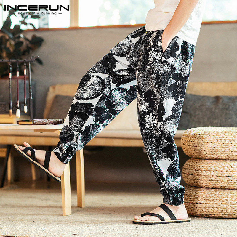 INCERUN Men Harem Pants Printed Ethnic Style Vintage Drawstring Cotton Casual Trousers Men Loose Joggers Pants Streetwear S-5XL