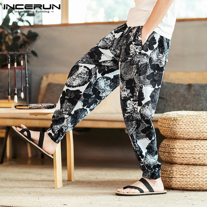 INCERUN Men Harem Pants Printed Ethnic Style Vintage Drawstring Cotton Casual Trousers Men Loose Joggers Pants Streetwear S-5XL