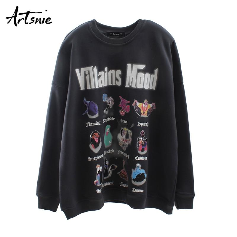 Artsnie Streetwear Casual Cartoon Women Sweatshirt O Neck Long Sleeve Oversized Hoodies Drop Shoulder Dark Gray Sweatshirts
