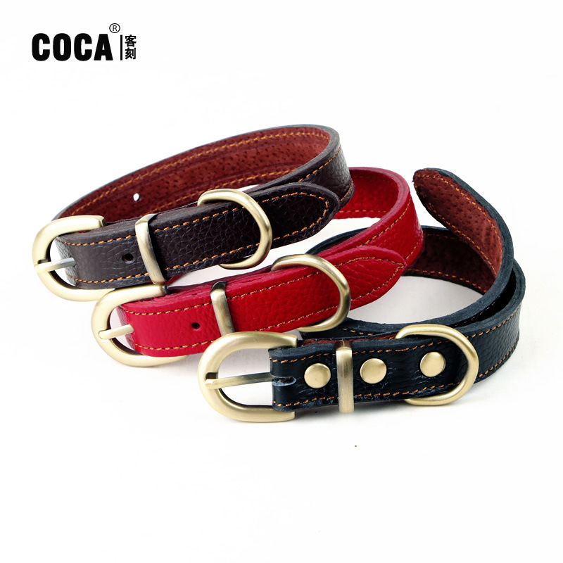 Coca Guest Engraved Genuine Leather Nail Seal Neck Ring Small Dogs Teddy VIP Bichon Dog Bandana Long 40 Cm * Wide-2.0 Cm