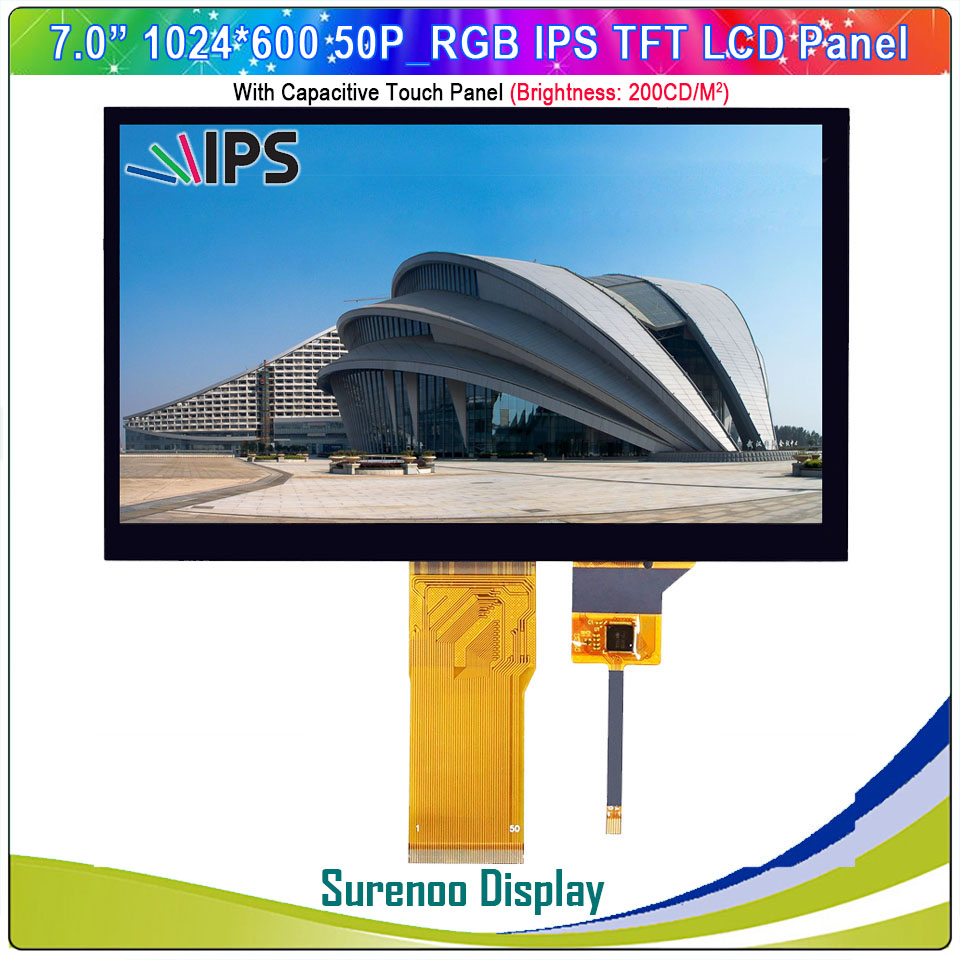 "7"" / 7.0"" Inch 1024*600 50P_RGB IPS TFT LCD Module Display Screen Monitor & FT5426 I2C Capacitive Touch Panel"