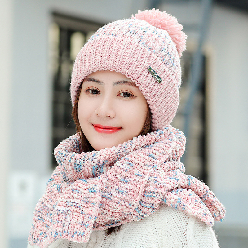 Women Wool Caps And Scarfs Sweet Cute Winter Ear Protection Warm Hat 2PCS Fashion Knitted Plus Velvet Ladies Scarves F31811AD