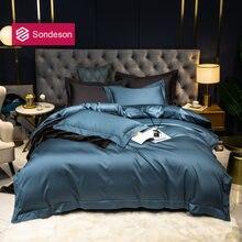 Sondeson 5 звездочный отель 100% хлопок синий комплект постельного