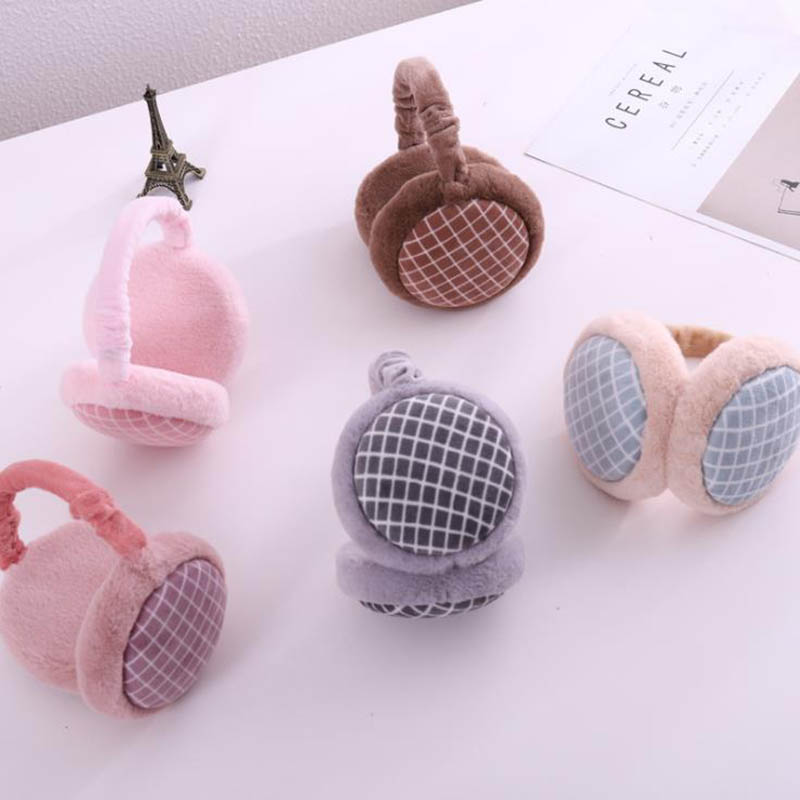 Calymel Hamburger Design Earmuffs Women Girl Fur Winter Ear Warmer Foldable Soft Grid Earmuffs Earlap Earmuffs Headband