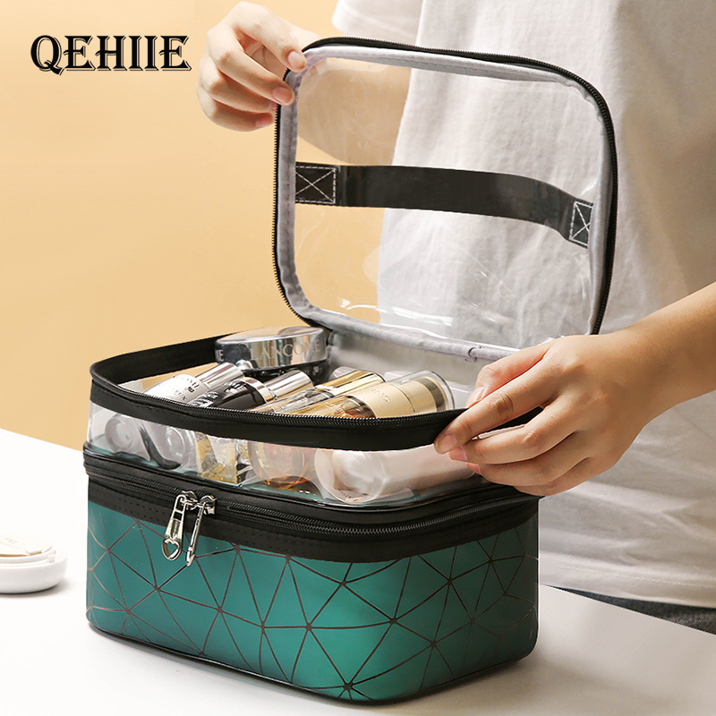 Multifunction Travel Clear Makeup Bag Fashion Diamond Cosmetic Bag Toiletries Organizer Waterproof Females Storage Make Up Cases