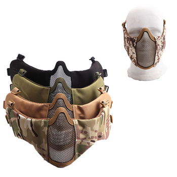 Airsoft Half Face Protective Mask Mesh Face Mask with Ear Protection Military Paintball Hunting CS Shooting Tactical Equipment 1000d nylon high quality military tactical mask airsoft shooting mesh mask with ear protection paintball masks for hunting cs
