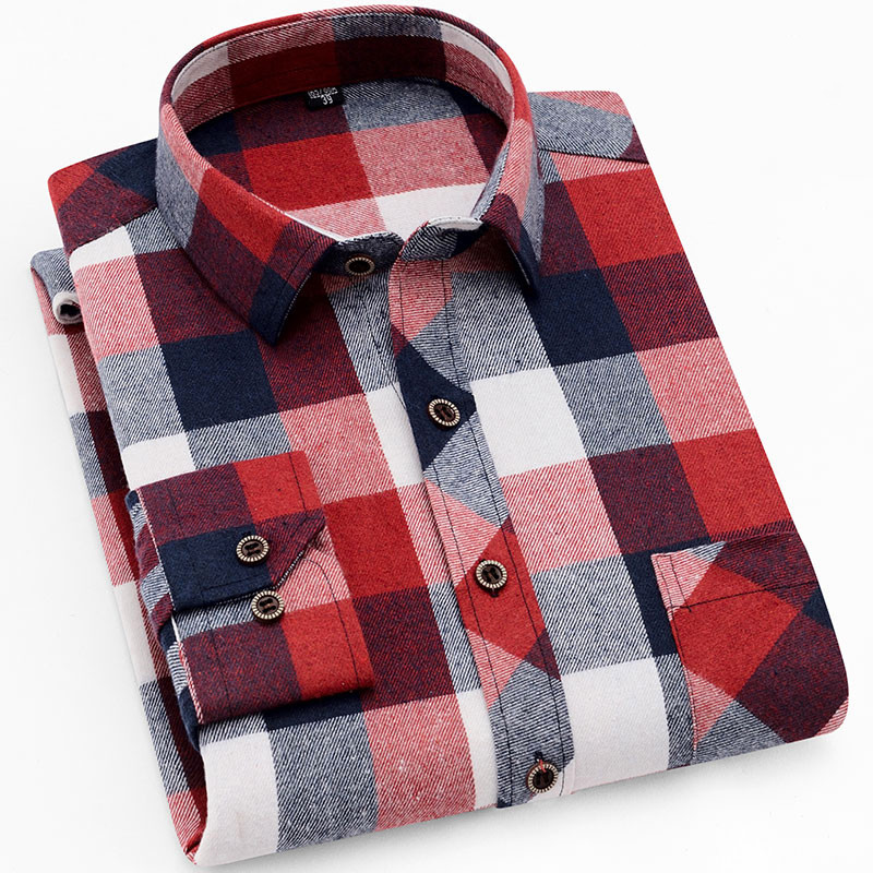 18 Colors 2019 Autumn Winter Warm Thick Mens Dress Shirt Casual Plaid Shirt Men  Brand Quality Cotton Social Business Shirt Men 32