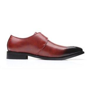 Image 2 - を2020男性は靴手作りブリティッシュブローグスタイルパティ革の結婚式の靴メンズフラットレザーオックスフォード