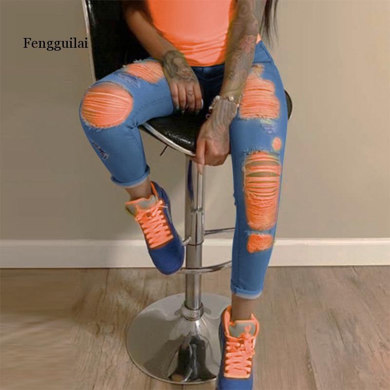 Оранжевые рваные джинсы с принтом для женщин, джинсовые узкие брюки с высокой талией, обтягивающие Джинсы бойфренда, рваные Джеггинсы больш...