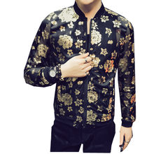 Black Floral Gold Summer Jacket Men Thin Sexy Transpaparent Jacket BomberChaquetas Hombre Stage DJ Party Outfit Ropa Para Hombre(China)