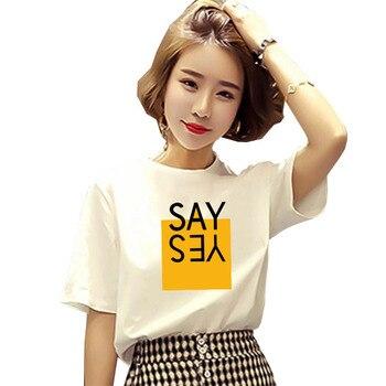 LUSLOS fashion women korean t shirt say yes letter printed female tshirt short sleeve summer casual white o-neck t-shirt graphic