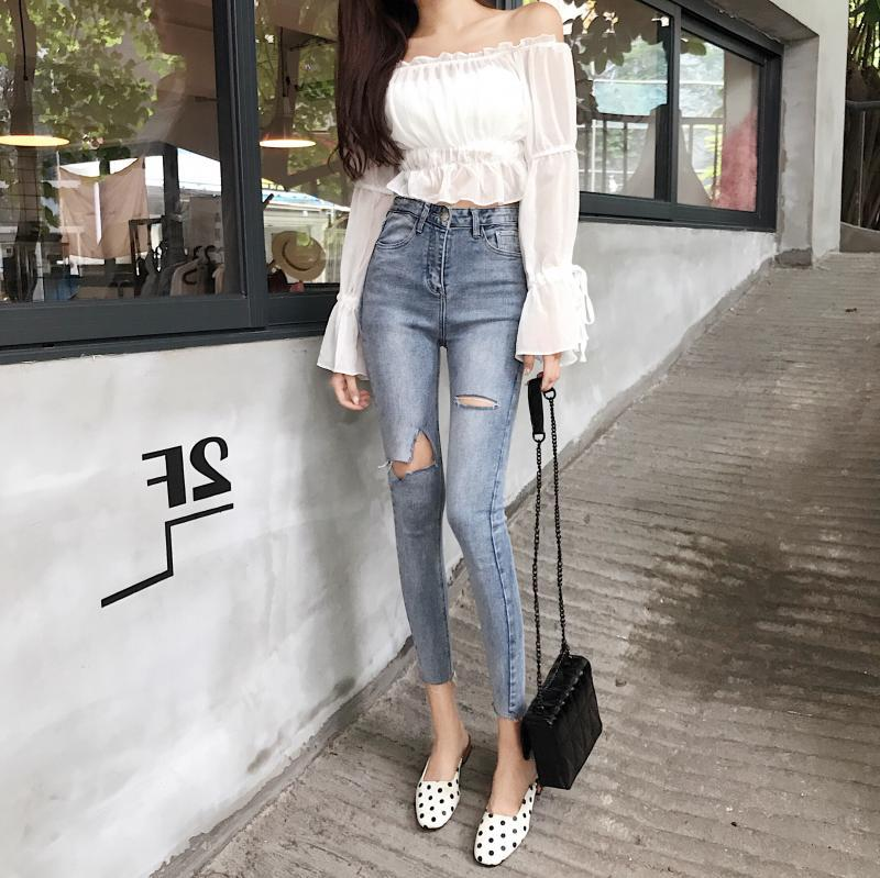 Online Celebrity Style With Holes Pencil Jeans Women's New Style Korean-style Slimming Versatile High-waist Ankle-length Skinny
