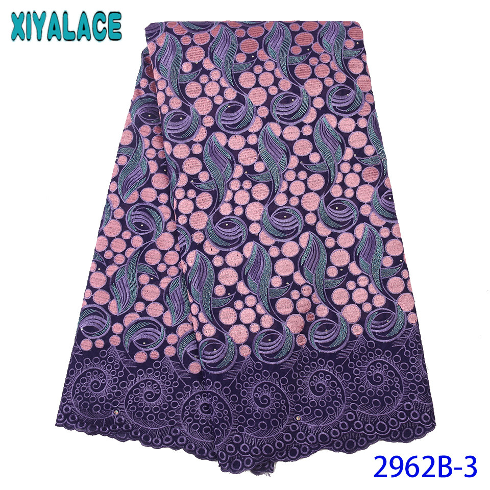Nigerian Lace Fabric 2019 High Quality Lace,Swiss Voile Lace With Stones,Embroidery Cotton Lace For Dresses KS2962B-3
