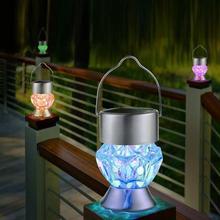 Садовый светильник на солнечной батарее, 1 шт., фонарики на солнечной батарее, вращающийся уличный садовый кемпинговый подвесной светильник светодиодный светильник с алмазной лампой, светильник 7 цветов