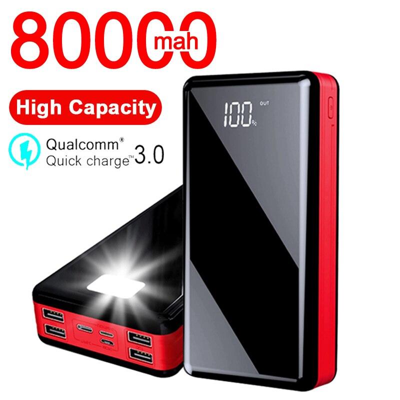Chargeur de batterie externe portatif de haute capacité de la batterie 80000MAh 4USB affichage numérique PowerBank pour l'iphone Samsung Xiaomi
