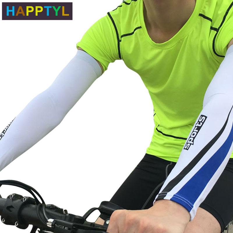 HAPPTYL Anti-UV Sun Protection Arm Compression Sleeves Stretchy Breathable Anti-slip Basketball Shooter Sleeves Football Running