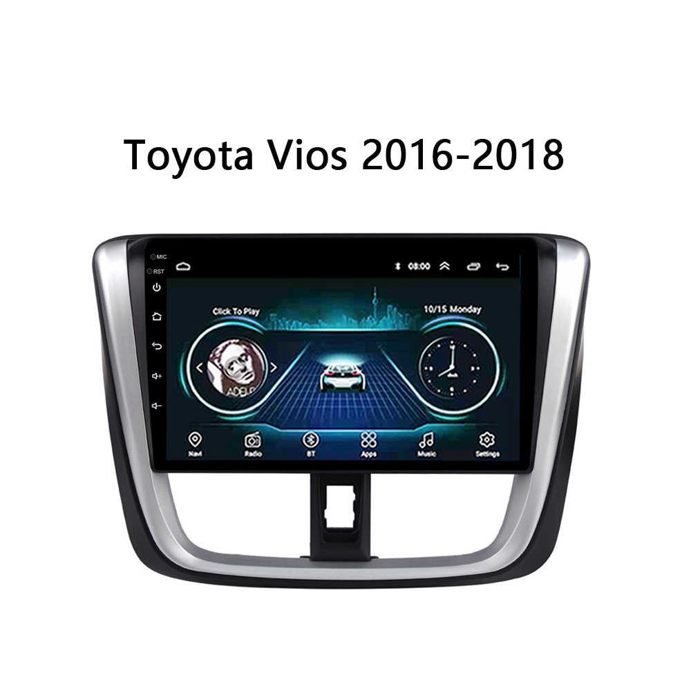 Android 8.1 10 Car DVD For TOYOTA VIOS Yaris 2014 2015 2016 2017 multimedia system video stereo support USB FM SWC TV bose WIFI image