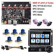 Bigtreetech skr v1.4 btt skr v1.4 turbo 32 bit placa + tft35 e3 v3.0 peças de impressora 3d tmc2130 tmc2209 tmc2208 mks sgen l ender3