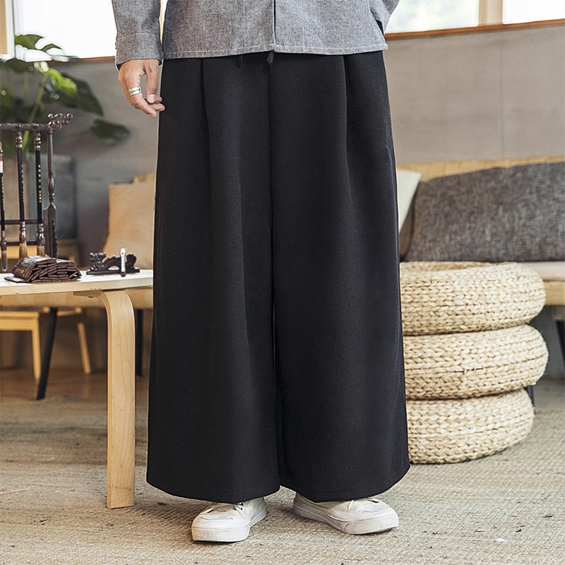 Chinese Style Loose Wide Leg Pants Men Jogger Japanese Streetwear Linen Pants Men Trousers Xxl Joggers Men Pants 2019 New KK3272