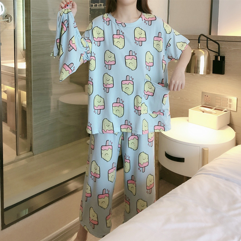 Cloth Bag Pajamas Female Summer Short Sleeve Long Blue Ice Cream M -Xxl Selfie Original 2-Color