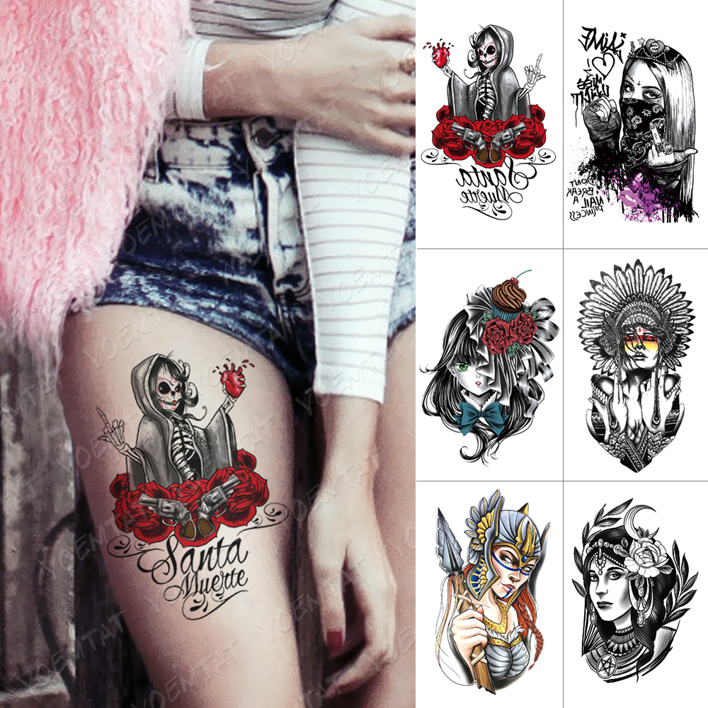 Waterproof Temporary Tattoo Sticker Skull Heart Rose Flash Tattoos Tribe Cool Girl Body Art Arm Water Transfer Fake Tattoo Women